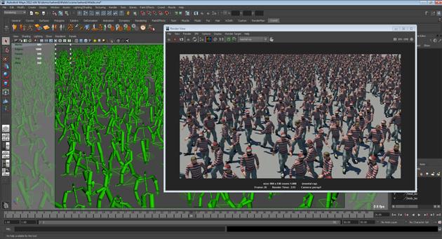 Golaem Crowd now offers procedural rendering directly in Maya Render
